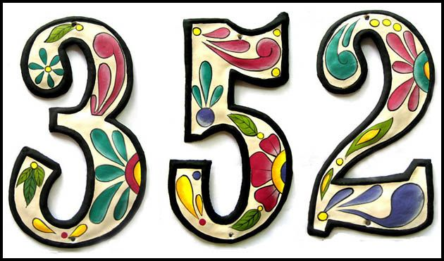hand painted house numbers at tropic decor. hand cut from recycled