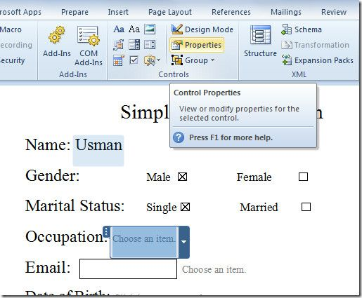 User Entry Forms In Word 2010 - copy how to make a letter format on microsoft word 2007