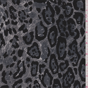 1fbd15432e3 Charcoal, graphite grey, black and white cheetah print. This lightweight  polyester fabric has a soft hand and stretch.Compare to $12.00/yd