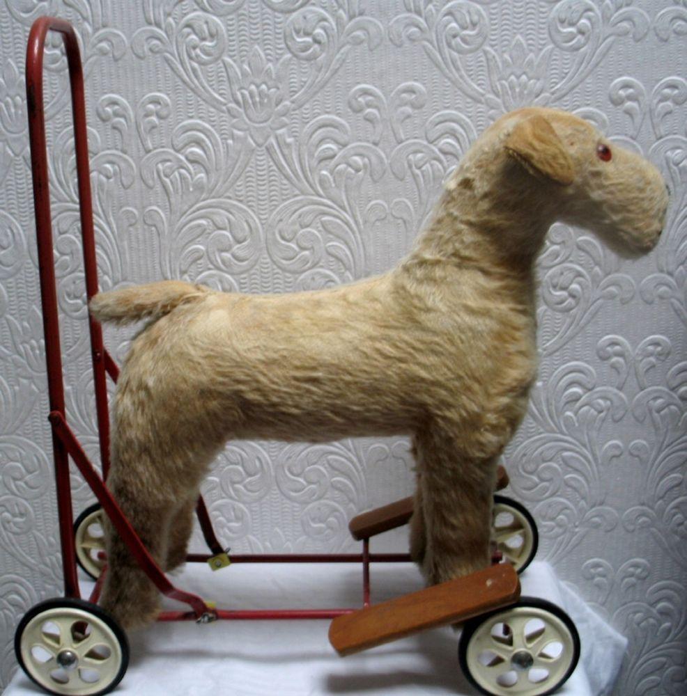 Antique Large Steiff Style Mohair Push Dog on Wheels