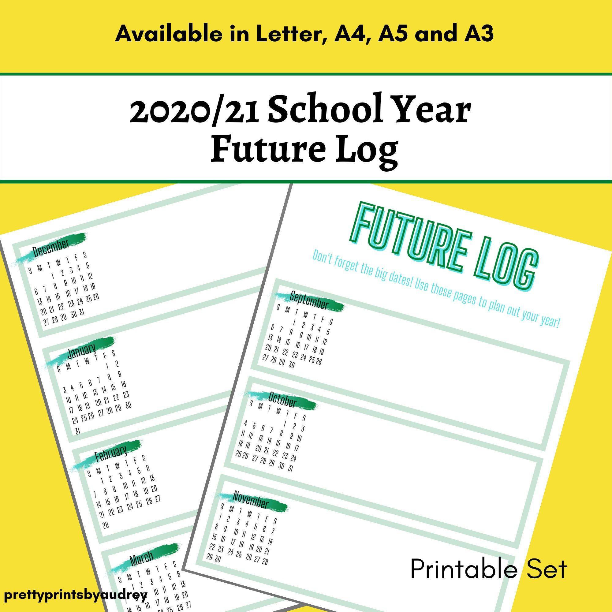 Printable Future Log 2020 21 Academic Year Future Log Bullet Journal Future Logger Printable Planner Amazon Handmade Printable Designs