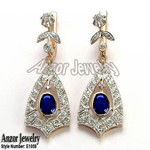 14k Rose Gold 0.70ct H-SI1 Diamond 2.0ct Sapphire Russian Style Drop Earrings  #anzor #Dangle