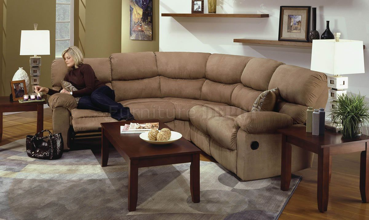 Microfiber Sectional Sofa | Camel Microfiber Reclining Sectional Sofa  W/Throw Pillows