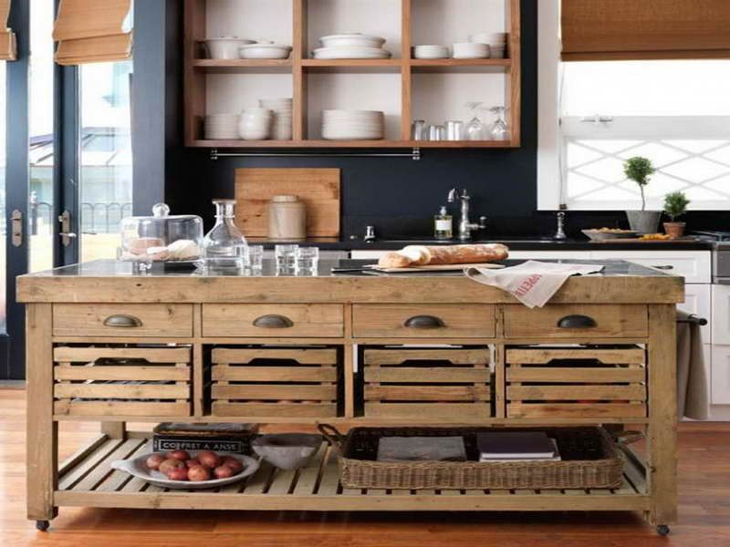 Kitchen Island, Rustic Rolling Kitchen Island With Drawers And Baskets: The  Fantastic Rolling Kitchen Island For Your House