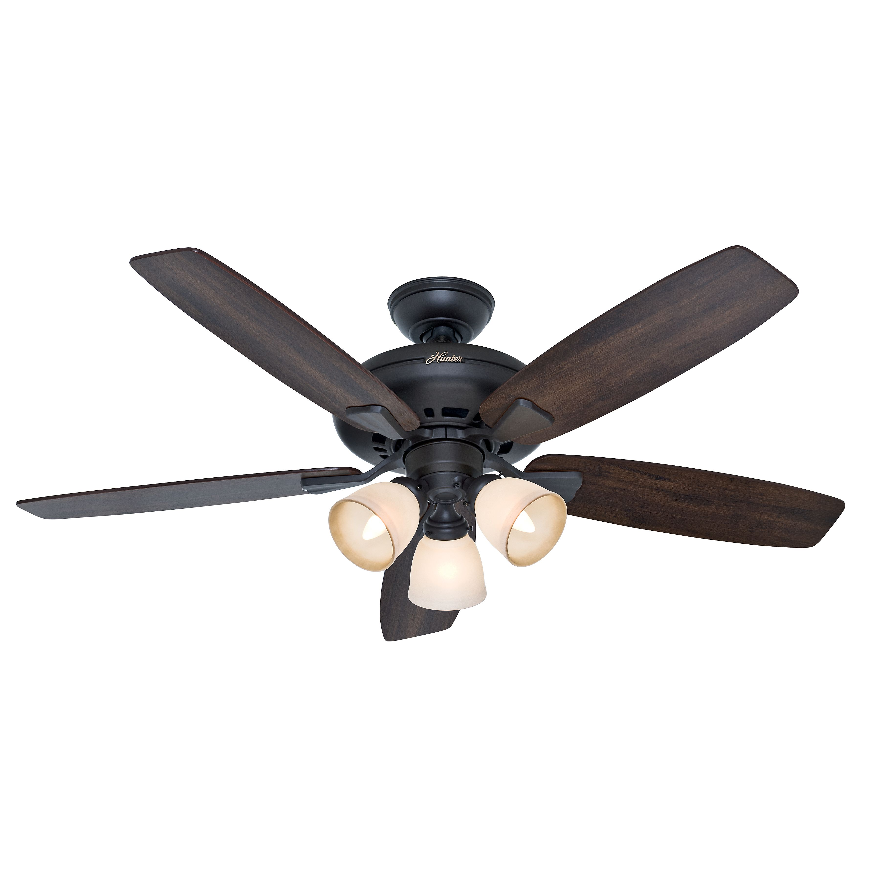 Hunter 52 Inch New Bronze Finish Ceiling Fan With Frosted