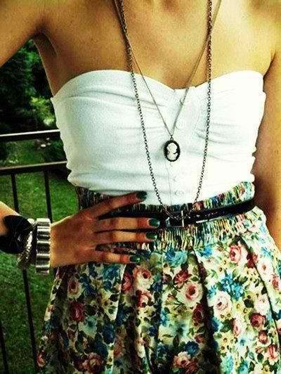 Cameo necklace outfit idea: Perfect for summer - layered necklaces, floral skirt, lace dress or top, white/pastels