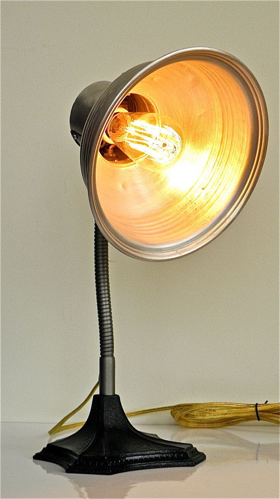 Great Vintage Deco Machine Age 1930s Lamp With Brushed Chrome Shade And Edison Bulb Made In New York Light Project Machine Age Mirror Table