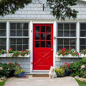 Spring Fake-Out! | Front doors, Red geraniums and Doors