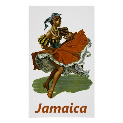 Jamaika ~ Vintage Meer-Tanz-Reise Posterdruck