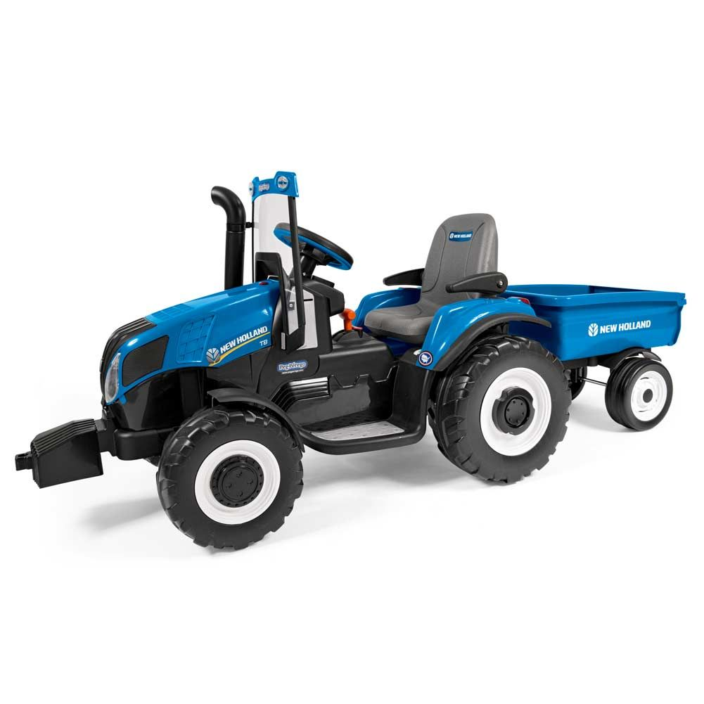New Holland T8 Battery Operated Ride On 12 Volt With Windshield Includes Pull Behind Trailer Tractors New Holland Farm Toys