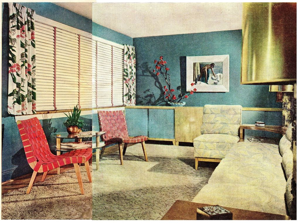 Late 1940 39 s interior decorating style late 1940 39 s living for Living room design styles