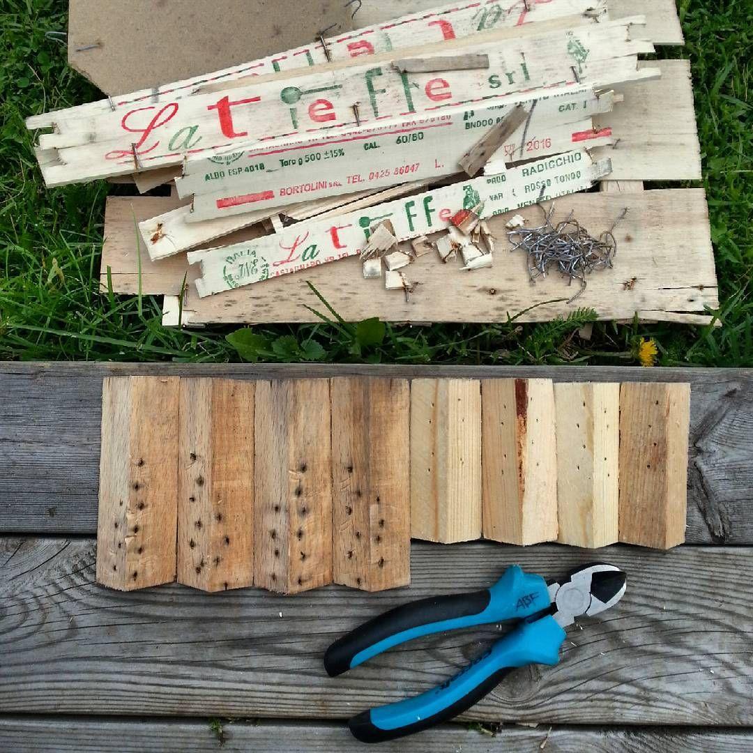 Pillat ur en hel massa klammer och fått fram åtta träbitar. #skräp #trä #återbruk #recycle