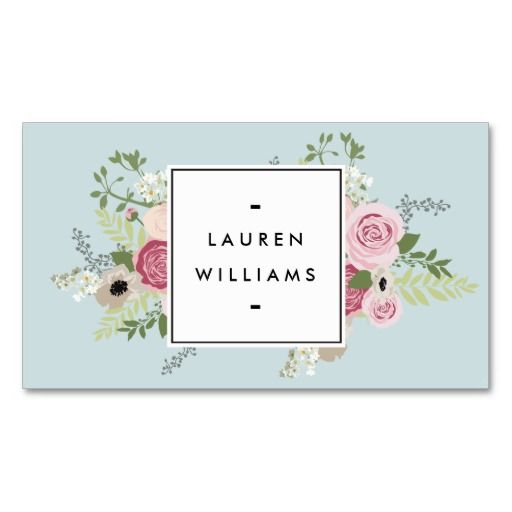 Vintage pink roses on mint antique blue business card card antique blue vintage floral business card template for cosmetologists nail salons makeup artists reheart Image collections