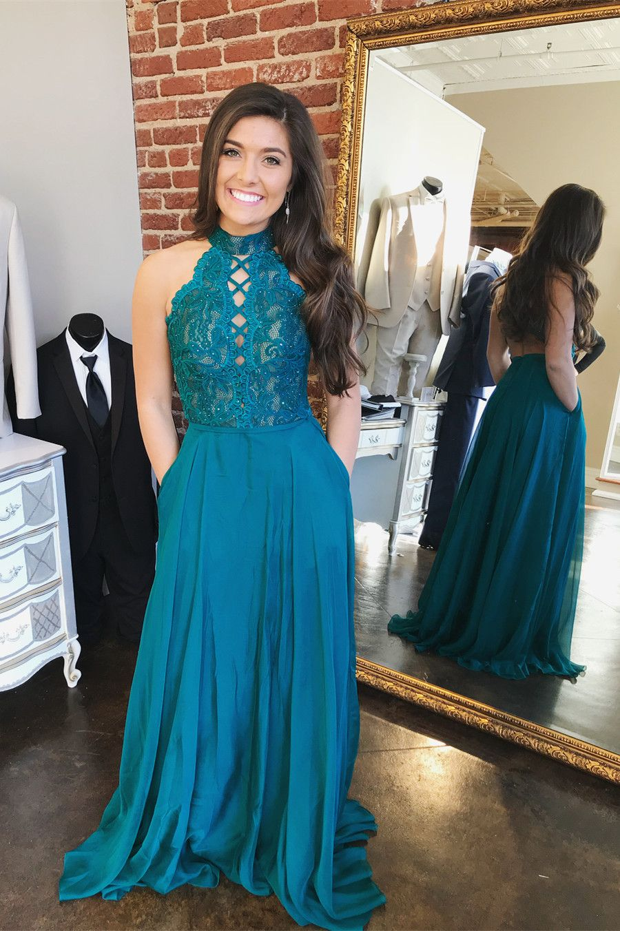 Gorgeous high neck blue long prom dress with pockets from modsele