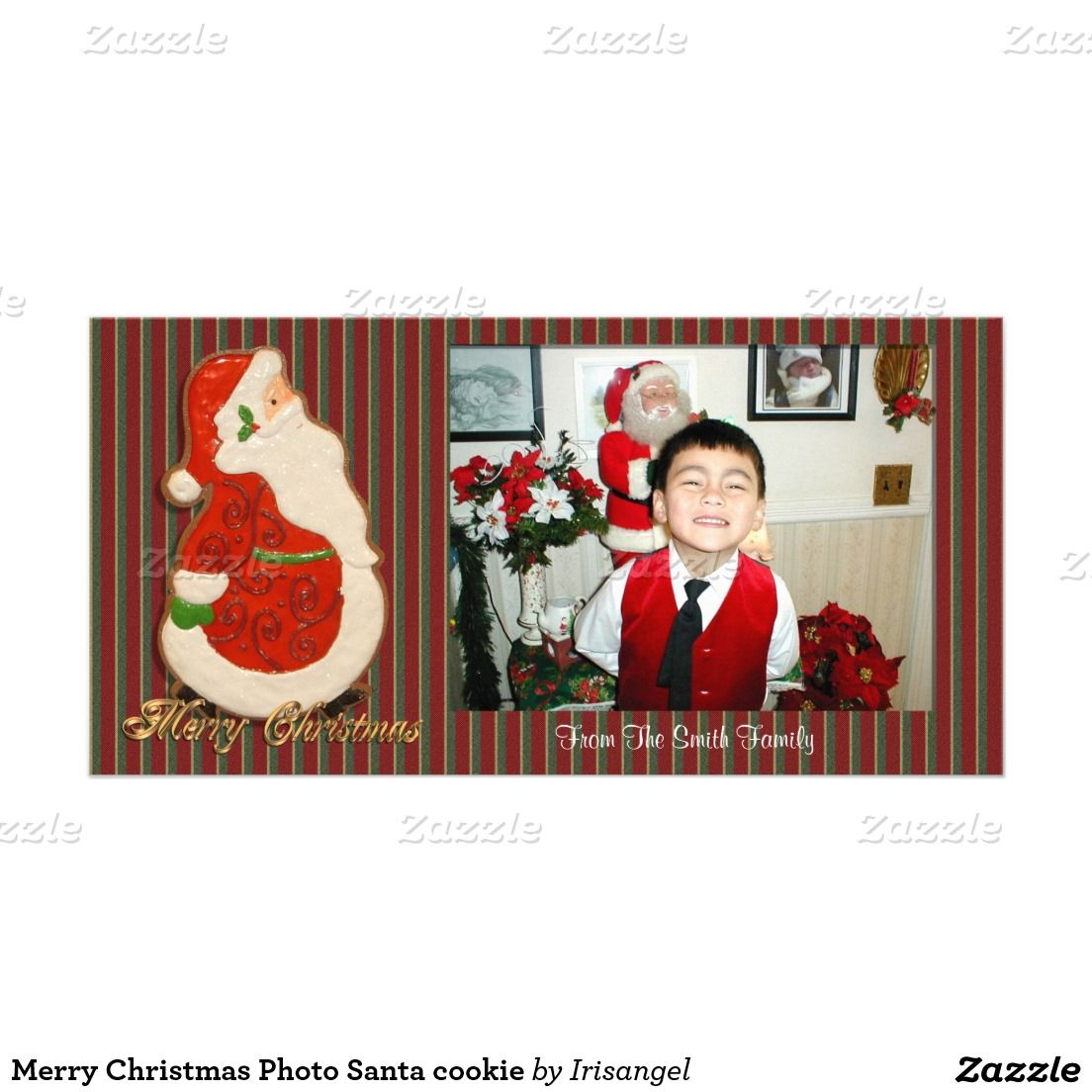 Merry Christmas Photo Santa cookie Photo Card