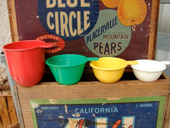 Vintage Set of 4 Measuring Cups in Primary Colors on Etsy, $9.95