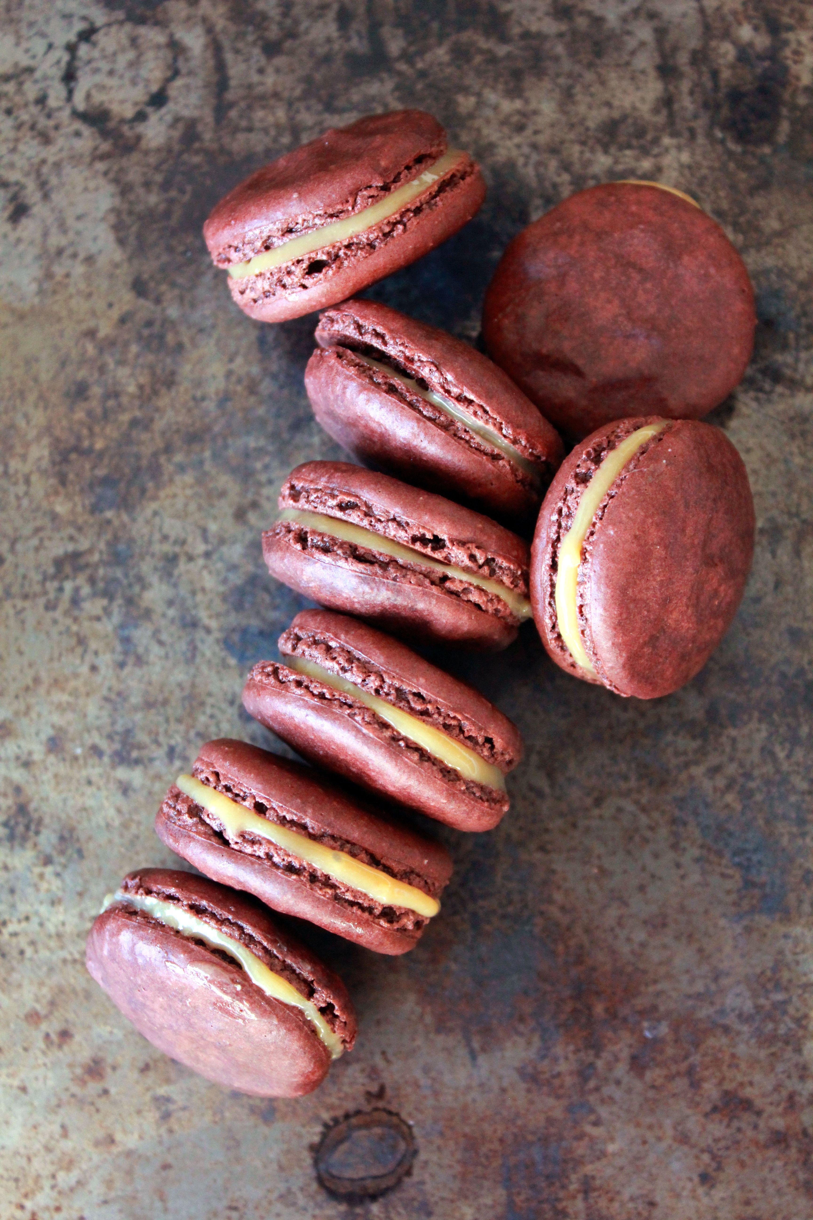 Chocolate Macarons with dulce de leche