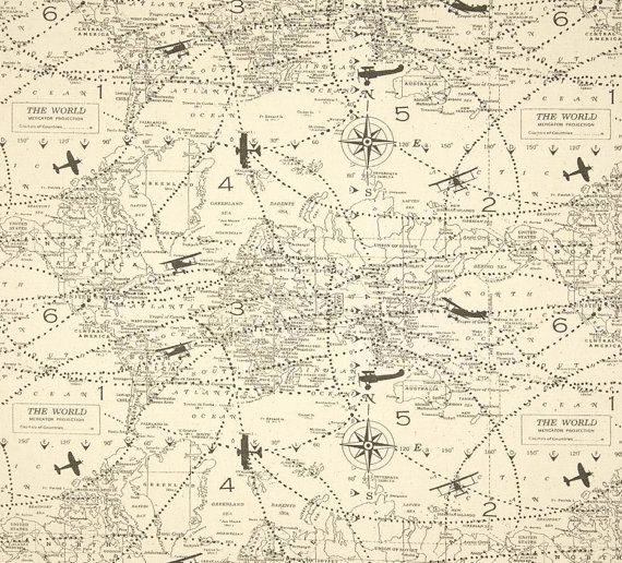 3 yards of Air Traffic Airplane Map Vintage - Decorator Fabric- Home ...