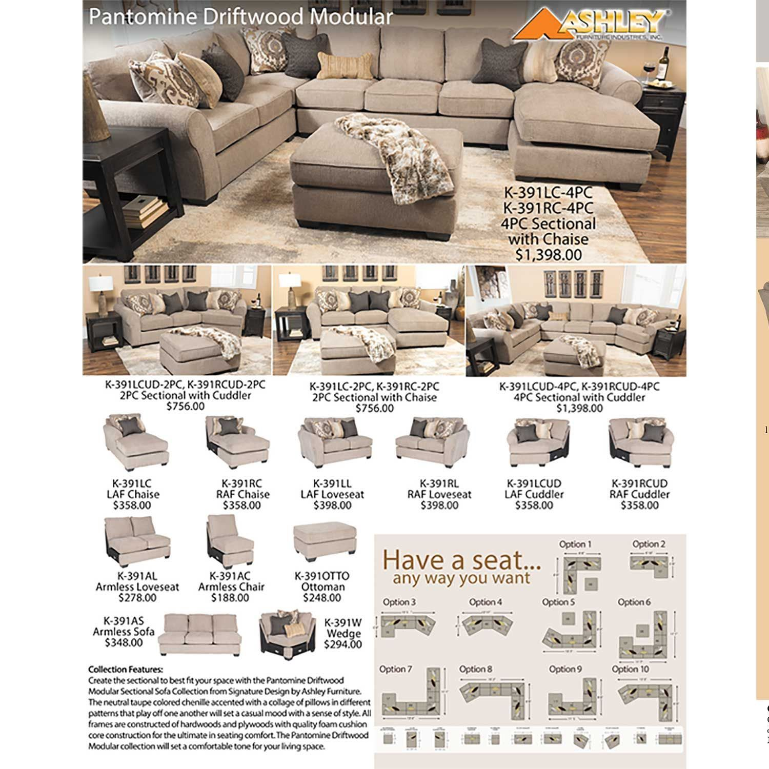 Pantomine 4PC with RAF Cuddler Sectional by Ashley Furniture is