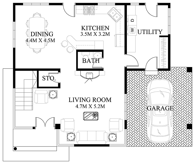 Superb Pinoy House Design 2015011 Ground Floor Plan
