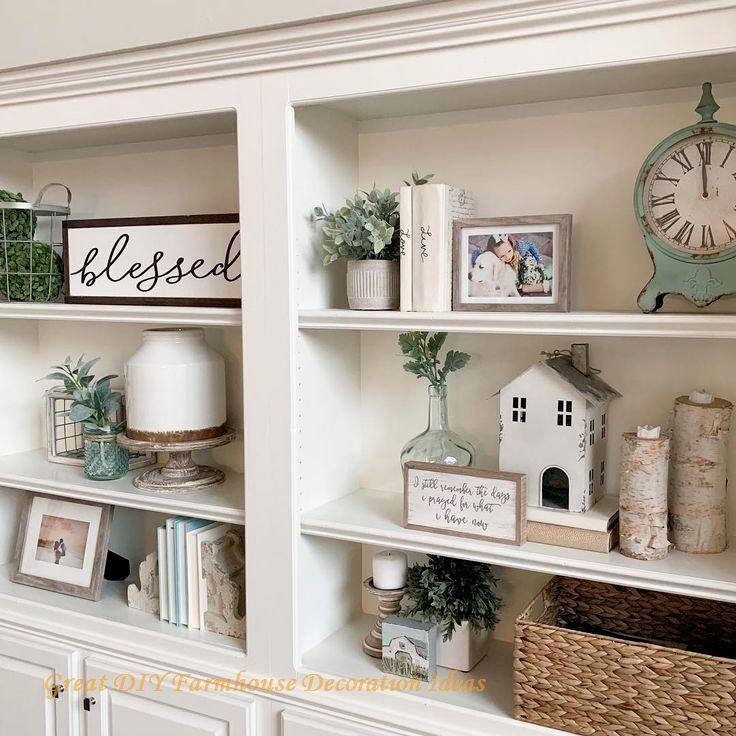12 Fantastic Farmhouse Decor Ideas In 2020 Bookshelves In Living Room Built In Shelves Living Room Shelf Decor Living Room