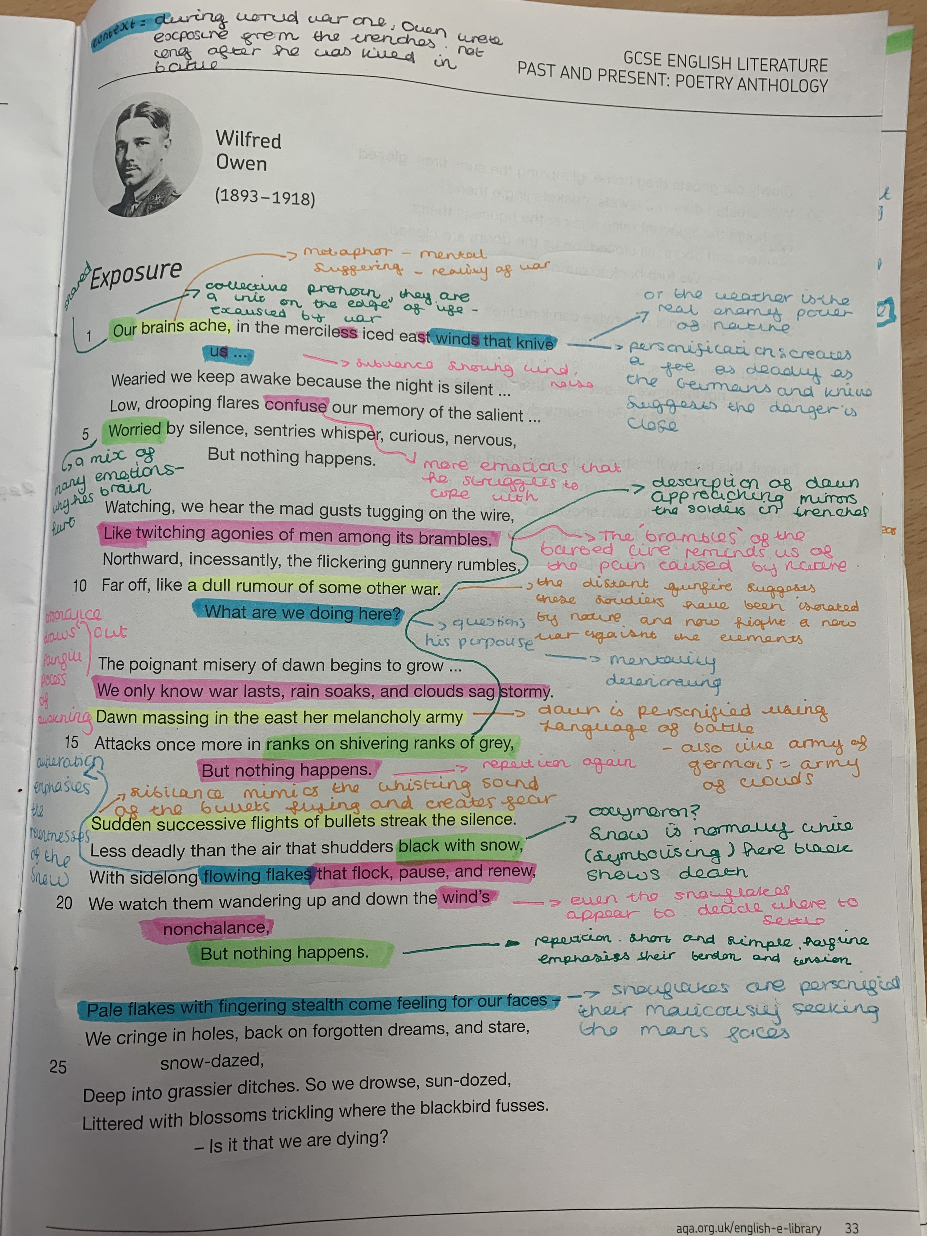 English Gcse Exposure Analysis Gcse Poems English Literature Notes Gcse English Literature