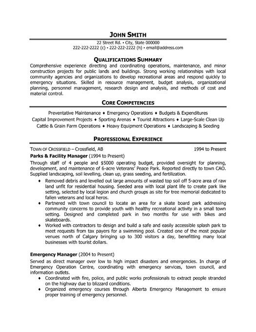 A professional resume template for a Parks and Facility Manager - transportation analyst sample resume