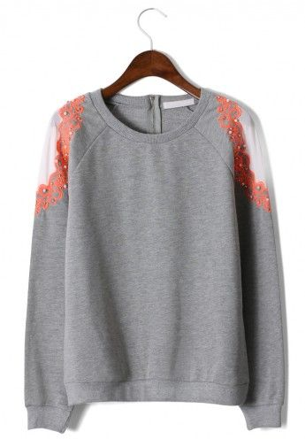 Pearl Embroidery Shoulder Grey Sweater