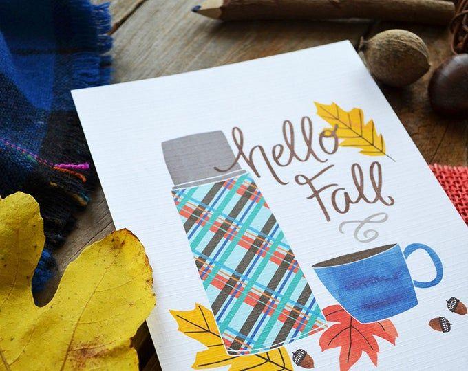 Fall is my favorite, Happy Fall, Hello Autumn, seasonal Decor, Welcome Fall, Illustration, Autumn Leaves, Watercolor, season print #helloautumn