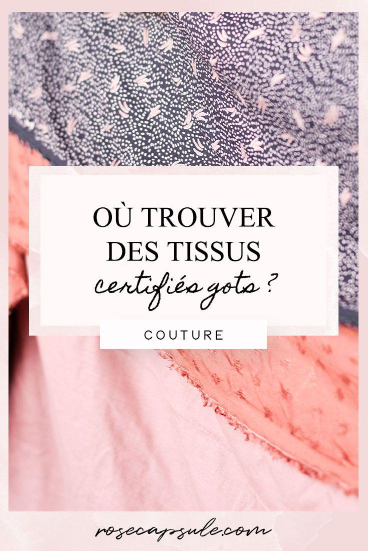 Où trouver des tissus et des fournitures de couture certifiés GOTS? • Capsule de rose   – Tissu