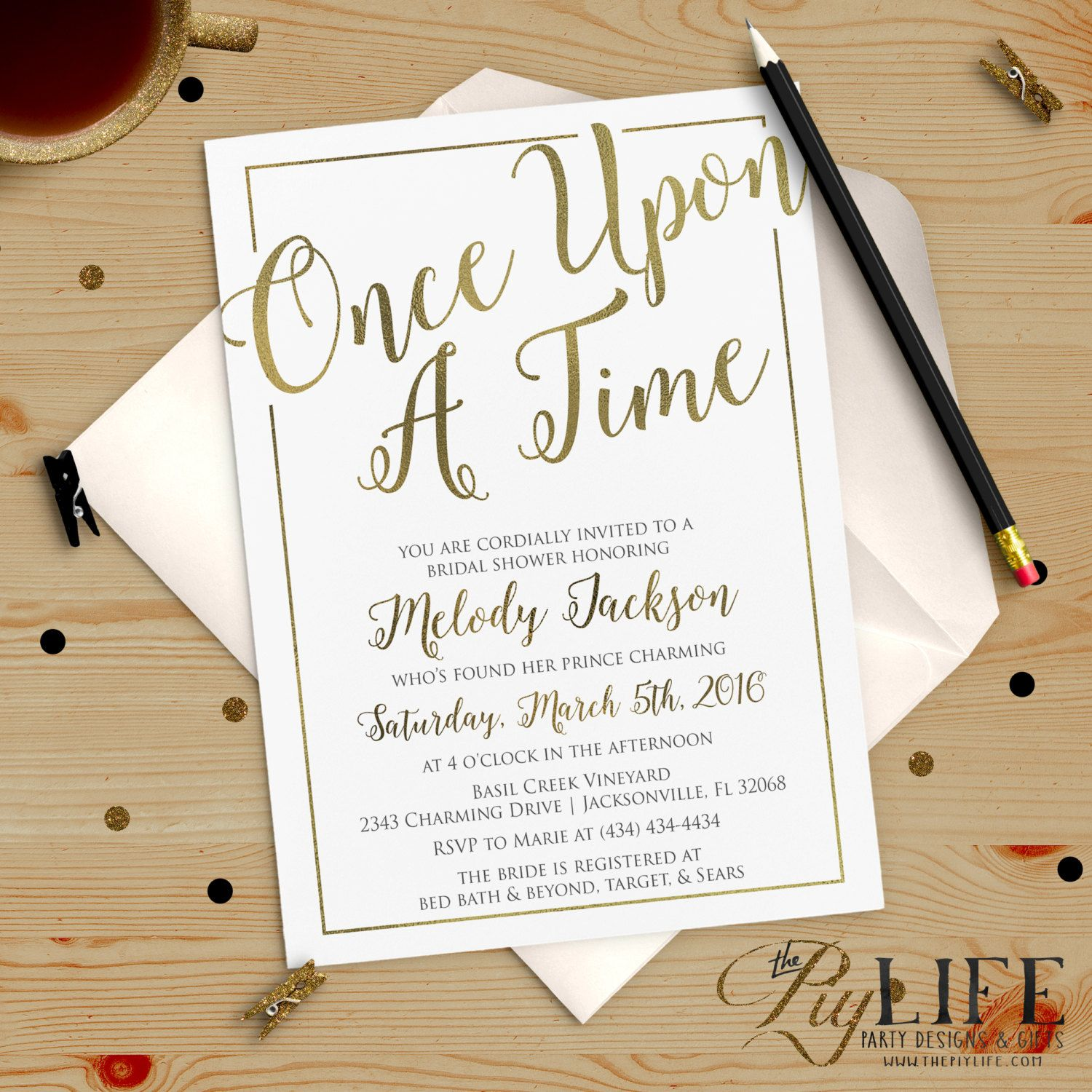 8c77f83815b Once upon A Time Bridal Shower Invitation Printable DIY No. I274 ...