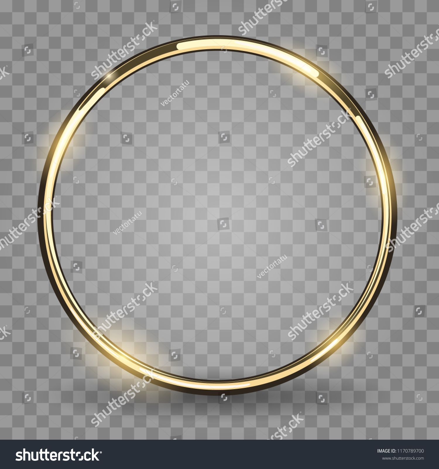Gold Ring Golden Metal Circle Shiny Metallica Rounded Frame Isolated On Transparent Background Transparent Background Gold Wallpaper Background Ring Vector