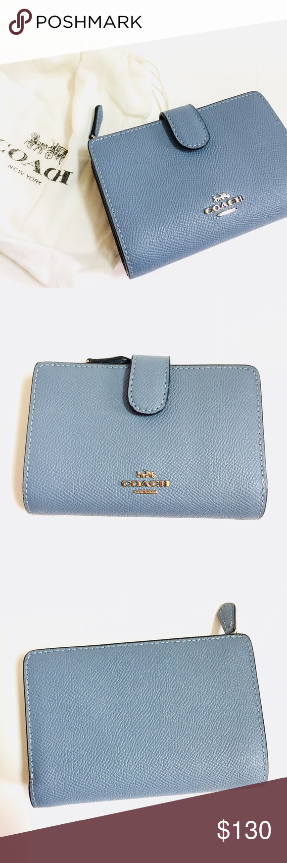 27942d1b7f8a6 Coach Medium Corner Zip Wallet Cross Grain Leather Details  Comes with dust  cover -MSRP