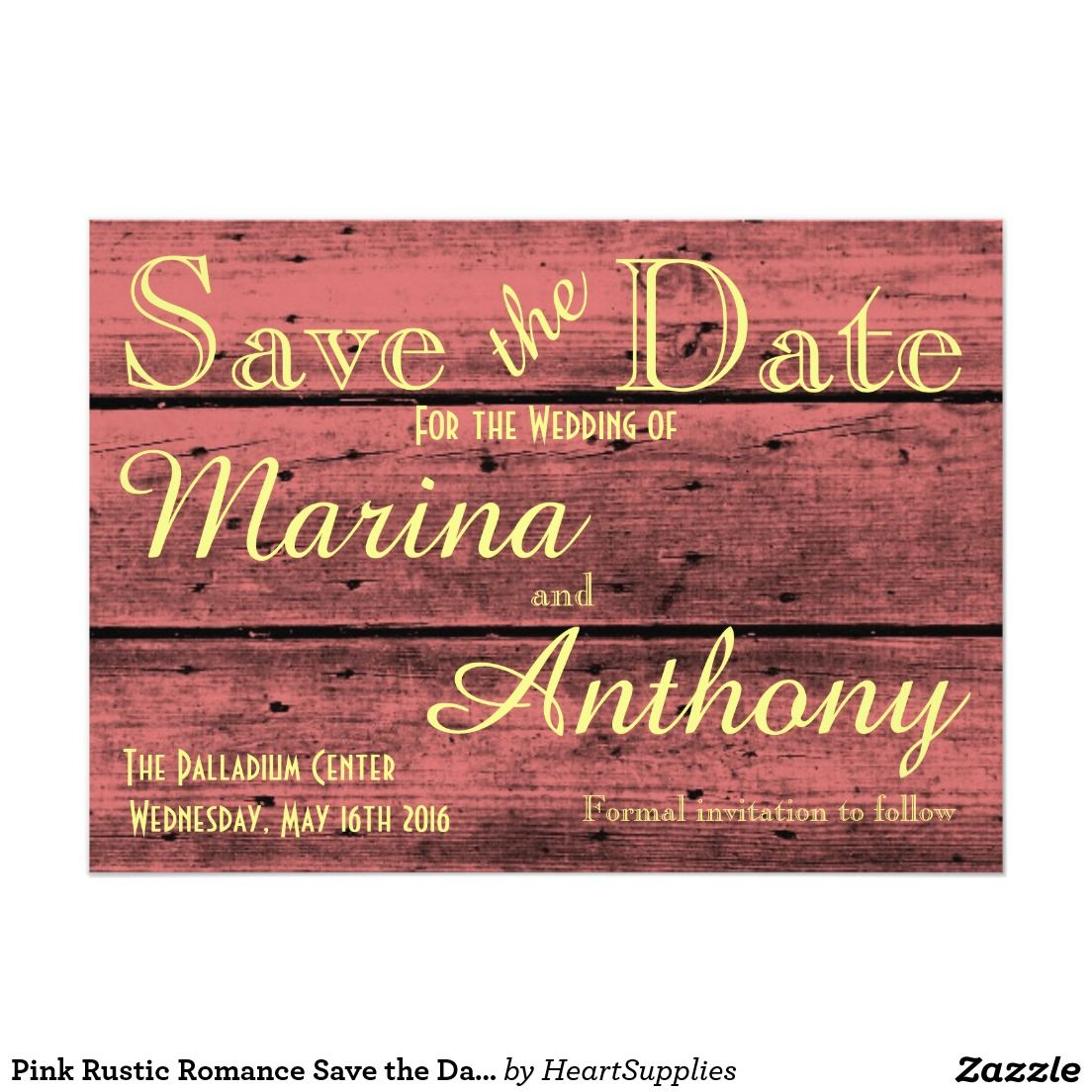 Pink Rustic Romance Save the Date No. 6 5x7 Invitation from #zazzle ...