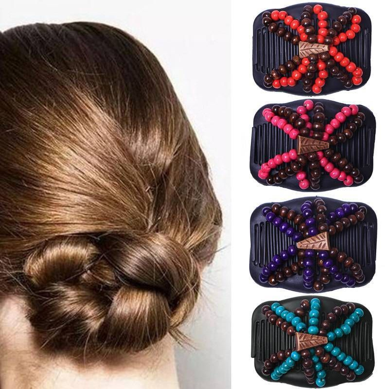 Women Hair Combs Bead Stretchy Double Magic Slide Metal Comb Clip Hairpins