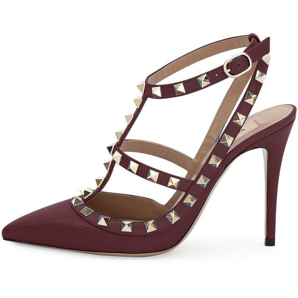 58b9ad93e4eb Valentino Rockstud Leather 100mm Pump (€1.015) ❤ liked on Polyvore  featuring shoes