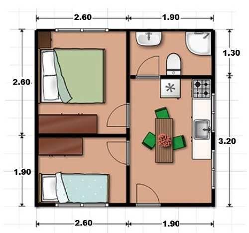 plan de maison 20m2