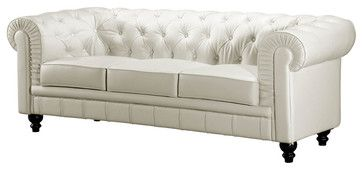 White On Tufted Leather Sofa With Rolled Arms Traditional Sofas Street