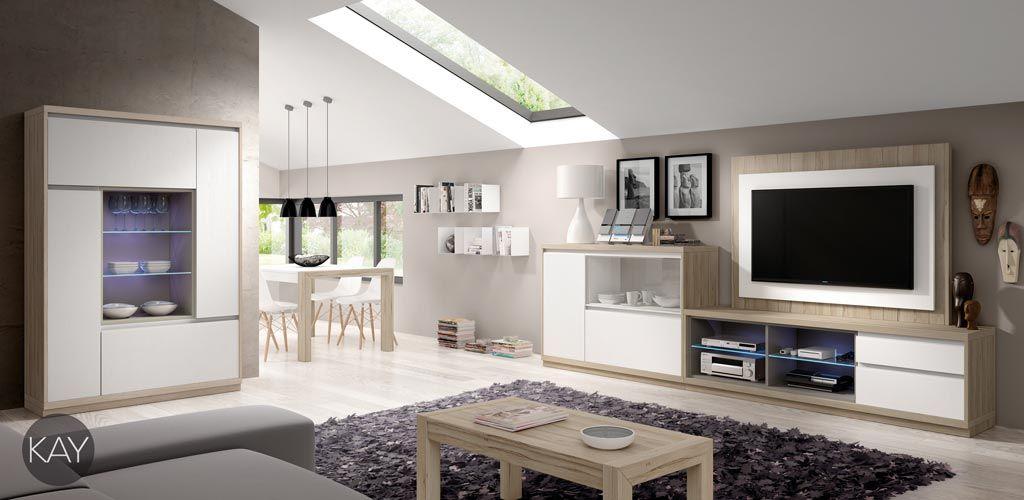 Salón con muebles y panel giratorio para colgar la televisión | Sala ...