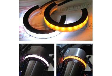 Snap-On White & Amber LED Fork Turn Signal Kit  Fits 39, 41, 43, 45, 46, 49, 52, 54, 56, 58mm Fork