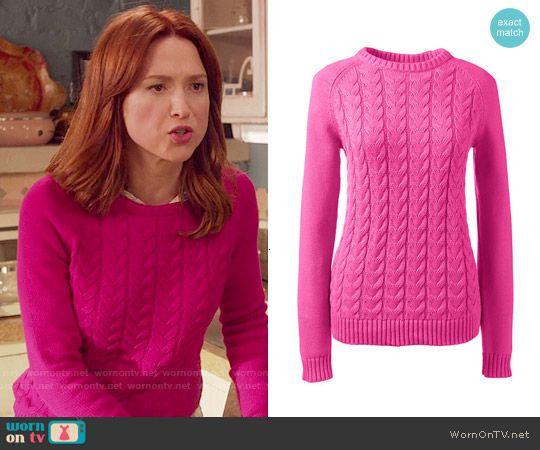 Kimmy's pink cable knit sweater on Unbreakable Kimmy Schmidt.  Outfit Details: https://wornontv.net/57063/ #UnbreakableKimmySchmidt