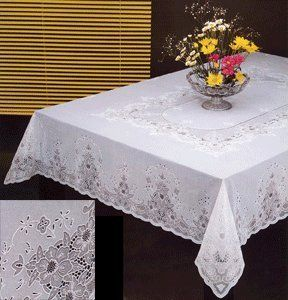 Exceptional Tablecloth, Vinyl Lace 60 X104 Inches Rectangular, White Sana Enterprises  Http://