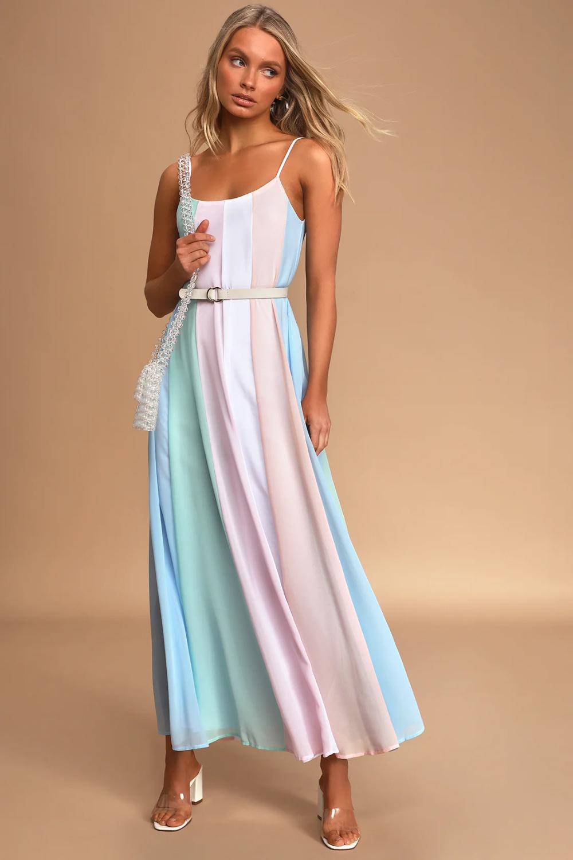 Days To Remember Light Blue Multi Striped Maxi Dress In 2021 Striped Maxi Dresses Maxi Dress Wedding Guest Dress Summer [ 1500 x 1000 Pixel ]