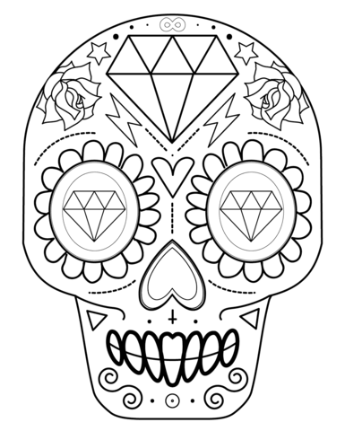 Sugar Skull With Diamonds Coloring Page Free Printable Coloring Pages Skull Coloring Pages Sugar Skull Drawing Coloring Books