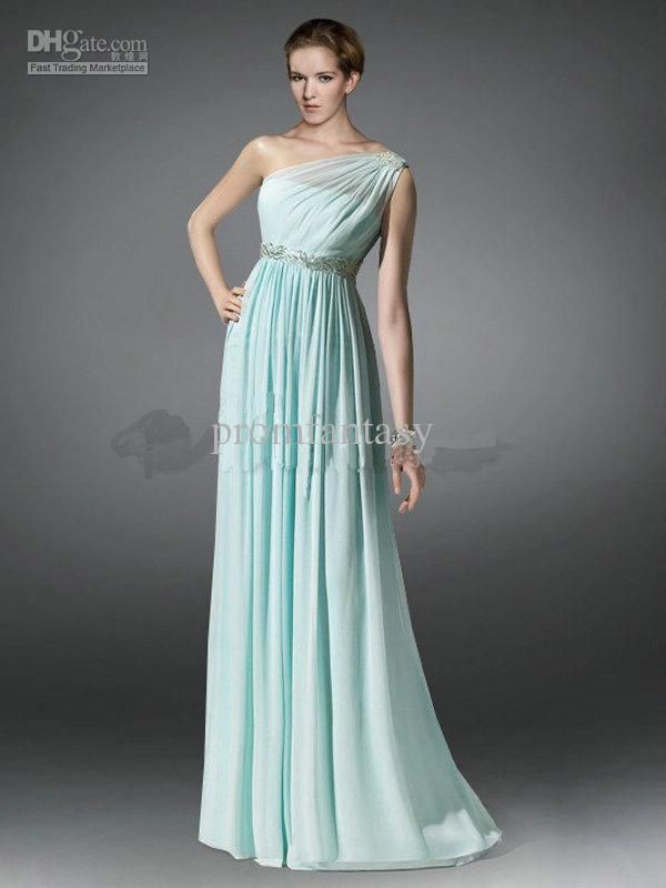 2013 New Mint Chiffon Fashion Greek Goddess One Shoulder Beaded