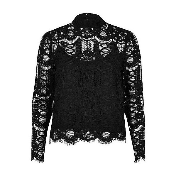 Black lace blouse ❤ liked on Polyvore featuring tops, blouses ...