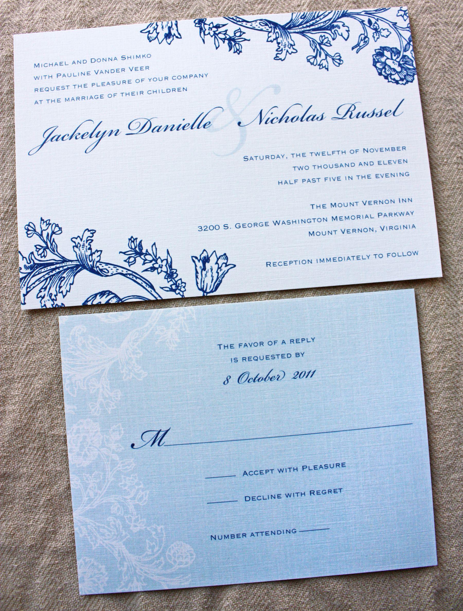 Vintage Navy Blue Light Fl Lace Wedding Invitations