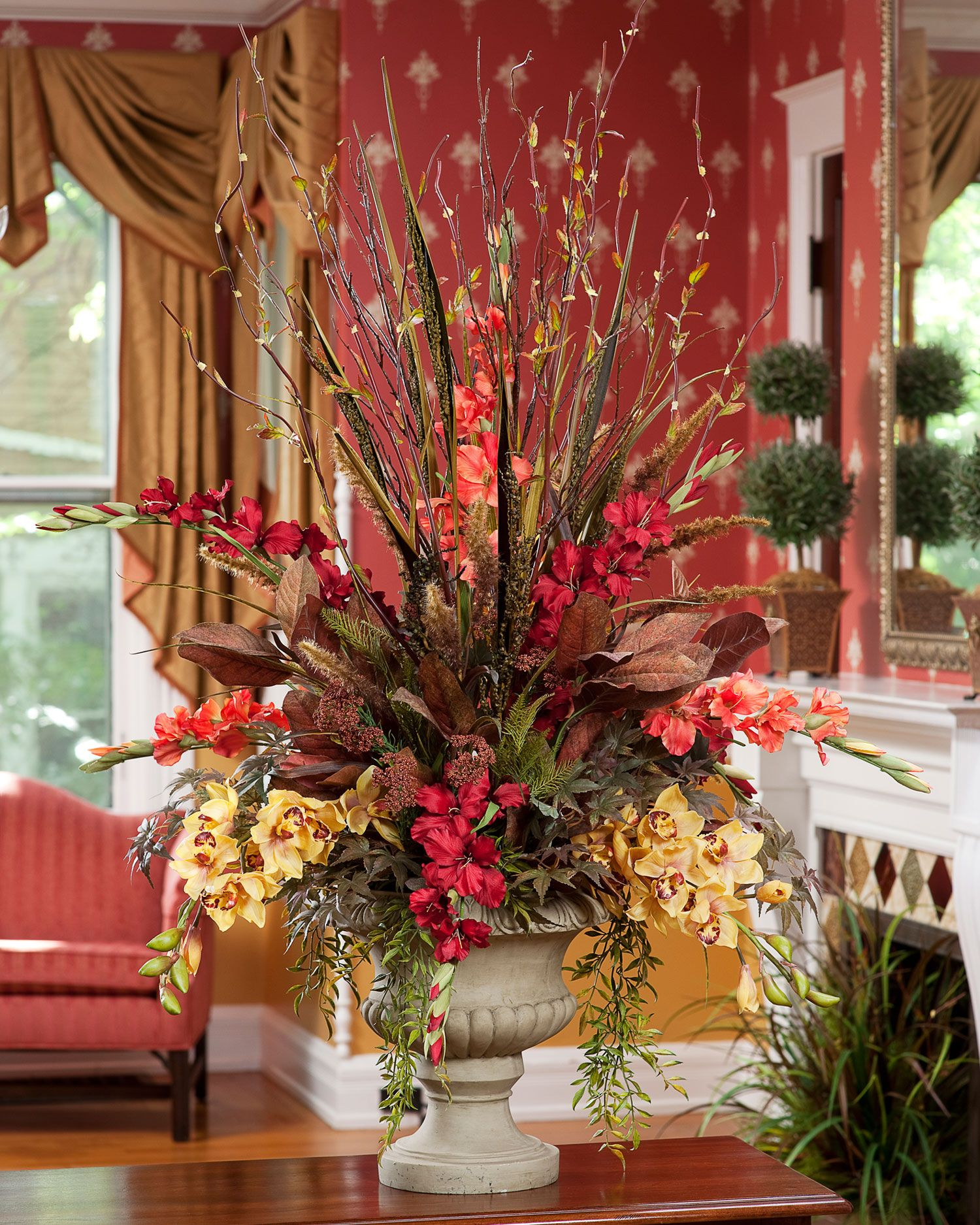 Distinctive Glorious Garden Silk Flower Centerpiece At Petals: Gladiolus & Orchids Silk Arrangement