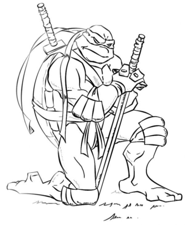 free printable coloring picture of leonardo ninja turtles