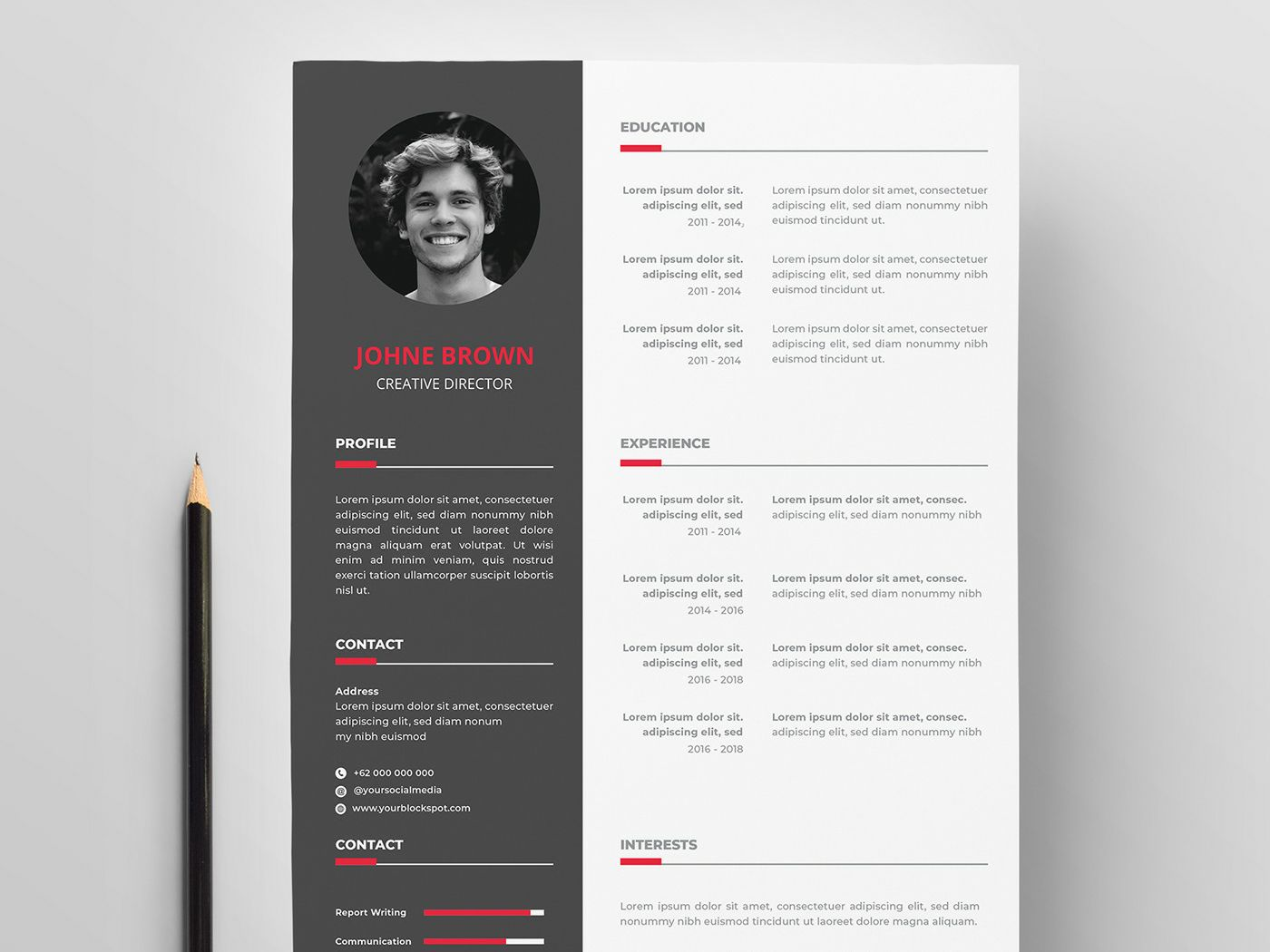 free vector resume template with creative design